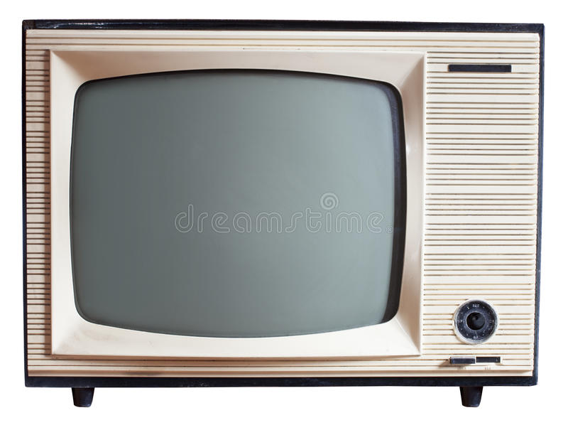 Old Russian TV set. Old Russian black and white TV set isolated on white with clipping paths stock image