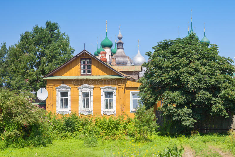 The old russian wood house in Rostov. The old russian wood house with satellite dish in Rostov city, The Golden Ring, Russia royalty free stock photography