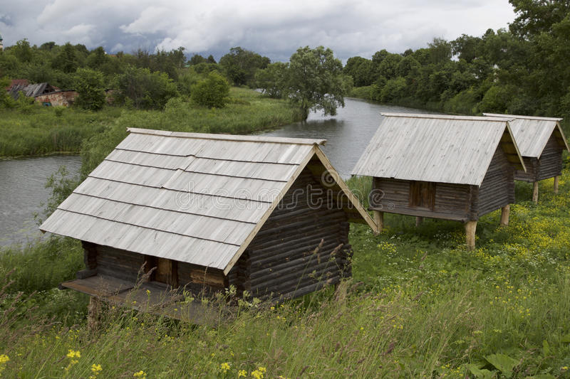 Old Russian wooden houses and structures. Russia royalty free stock image