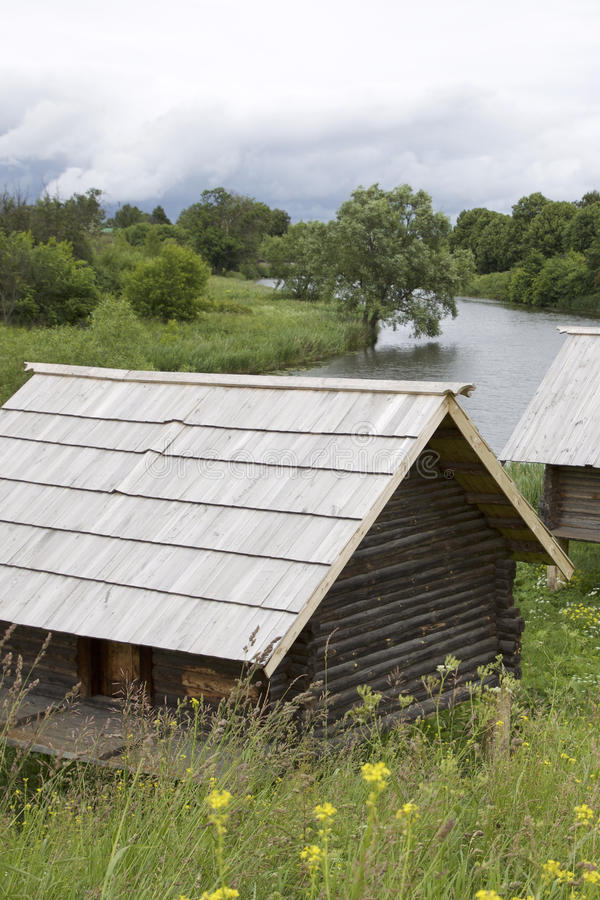 Old Russian wooden houses and structures. Russia stock photography