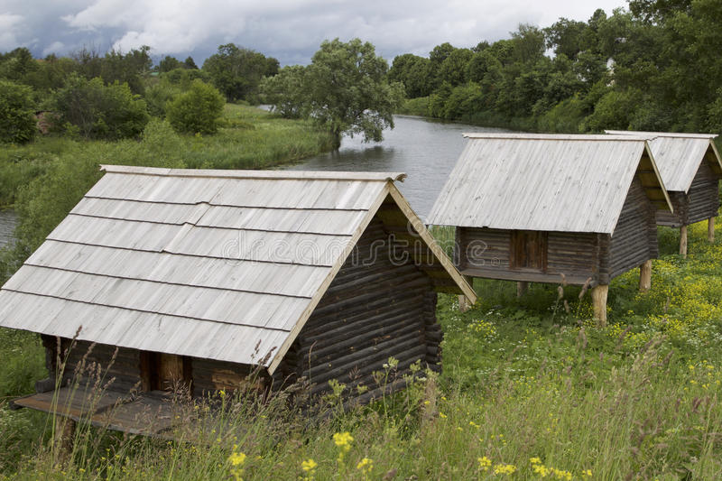 Old Russian wooden houses and structures. Russia stock photos