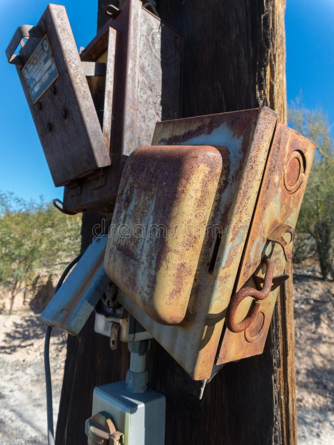 Rusted electrical panel and hardware stock photography