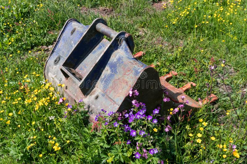Old rusted excavator spoon in an overgrown wildflower meadow. An old rusted excavator spoon in an overgrown wildflower meadow stock images