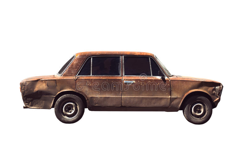 Old rusted torched car. Isolated over white stock photo