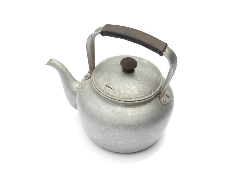 Old rustic aluminum kettle isolated on white background royalty free stock images