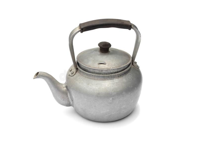 Old rustic aluminum kettle isolated on white background royalty free stock photos