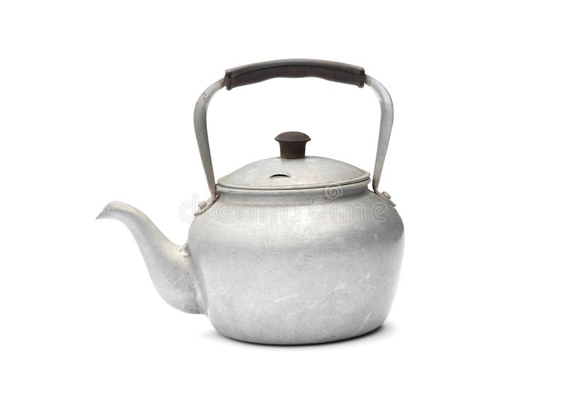 Old rustic aluminum kettle isolated on white background stock photo