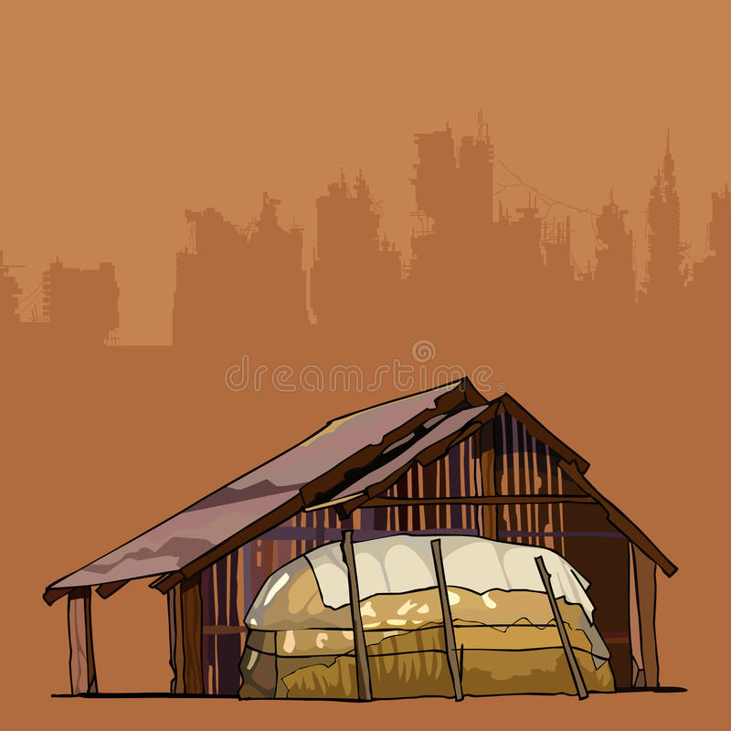 Old rustic barn with a large haystack vector illustration