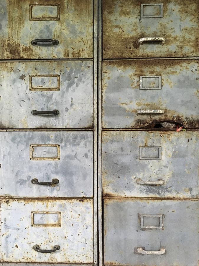 old rustic pull drawer steel filing cabinet royalty free stock photography