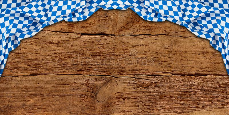 Old rustic retro wood wooden texture with bavarian flag dark brown vintage weathered Oktoberfest background royalty free stock photos