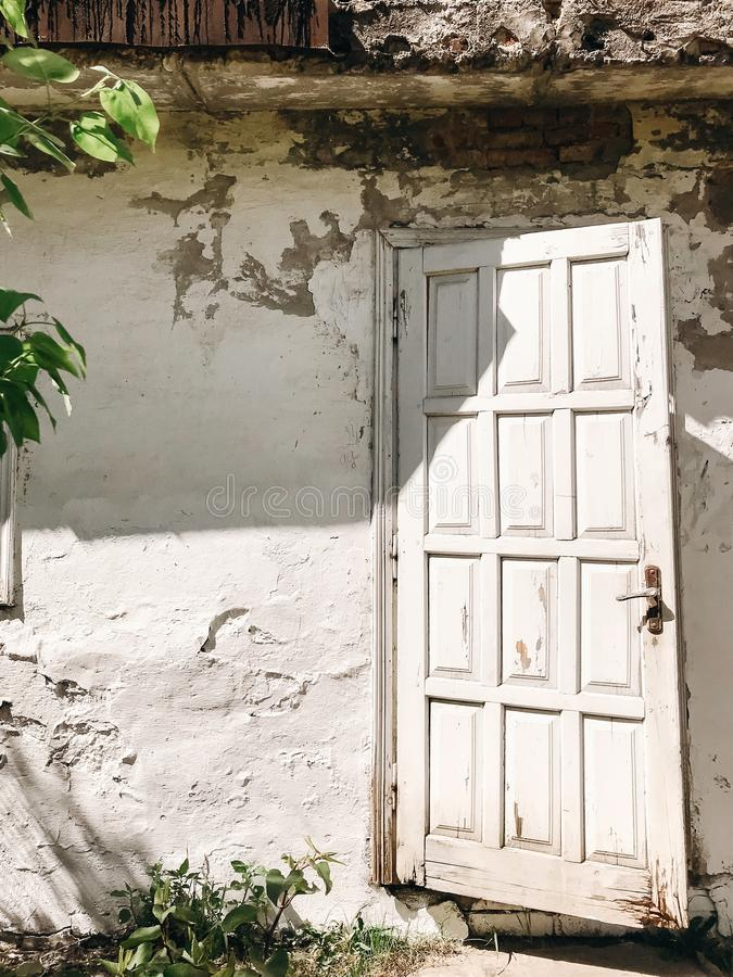 Old rustic white wooden door on aged white wall of house in sunny botanical garden with branches and  green leaves. Phone photo. royalty free stock image