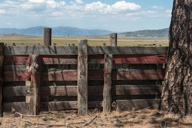 Old rustic wooden ranch fence stock photo