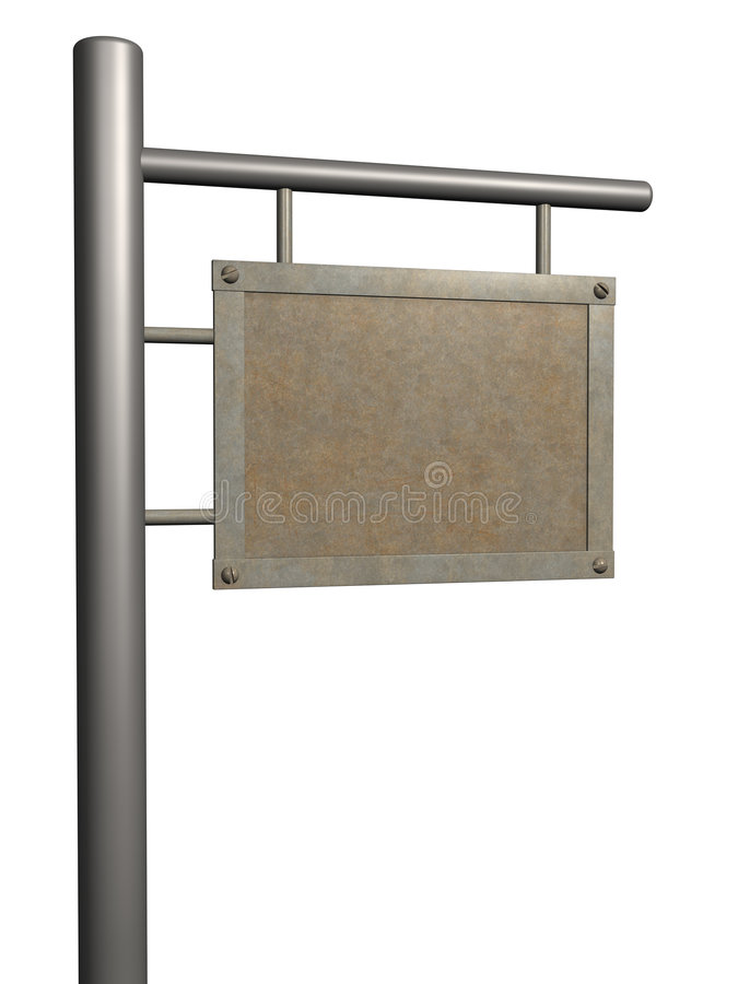 Old rusty 3d signboard on a column royalty free illustration