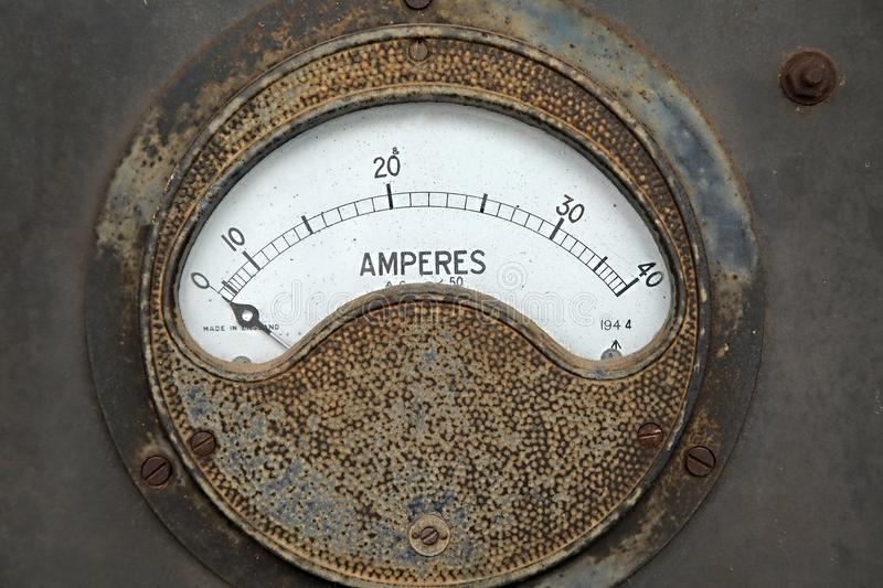 Old rusty ampere meter royalty free stock image