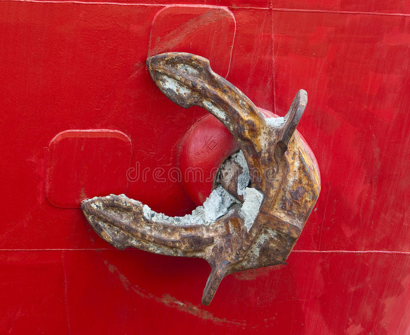 Old Rusty Anchor Of A Red Freighter Royalty Free Stock Photography