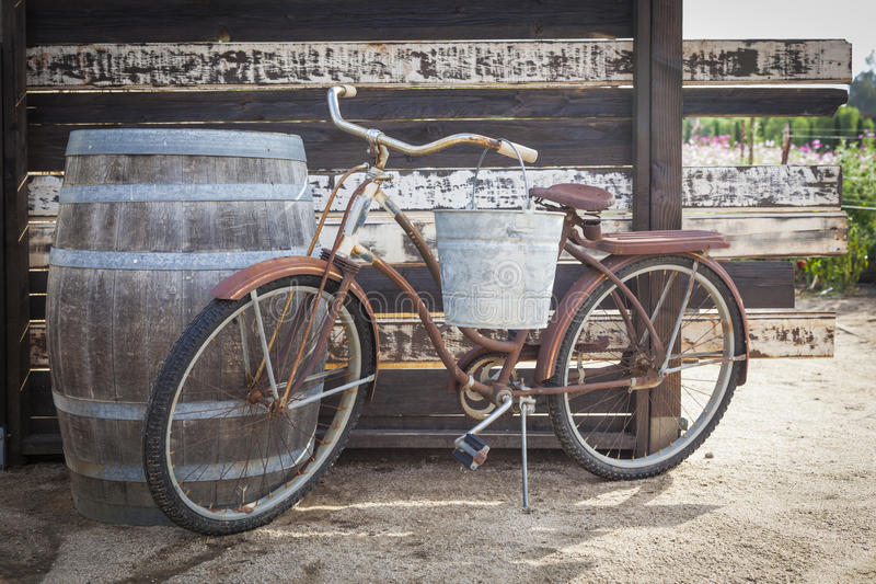 Old Rusty Antique Bicycle and Wine Barrel. In a Rustic Outdoor Setting royalty free stock photo