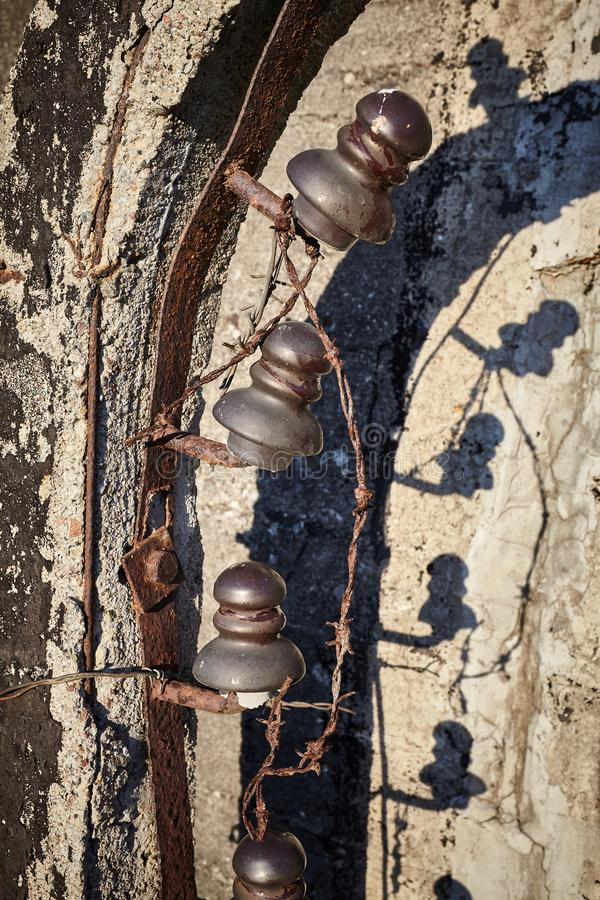Old rusty barbed wire fence royalty free stock photos