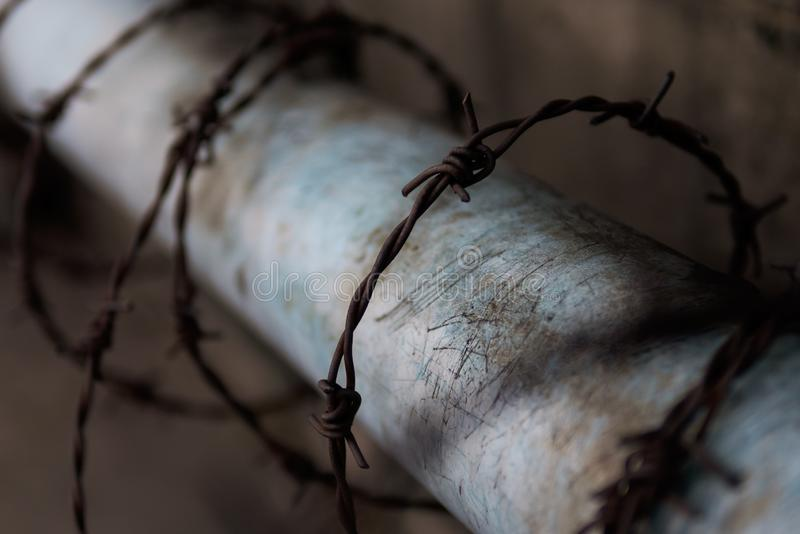 Barbed wire protection. Old Rusty Barbed wire protection stock image