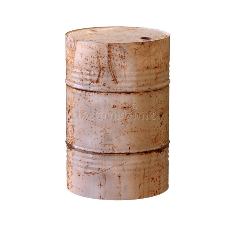 Old rusty barrel. 3D illustration. Old rusty barrel isolated on white background. 3D illustration vector illustration
