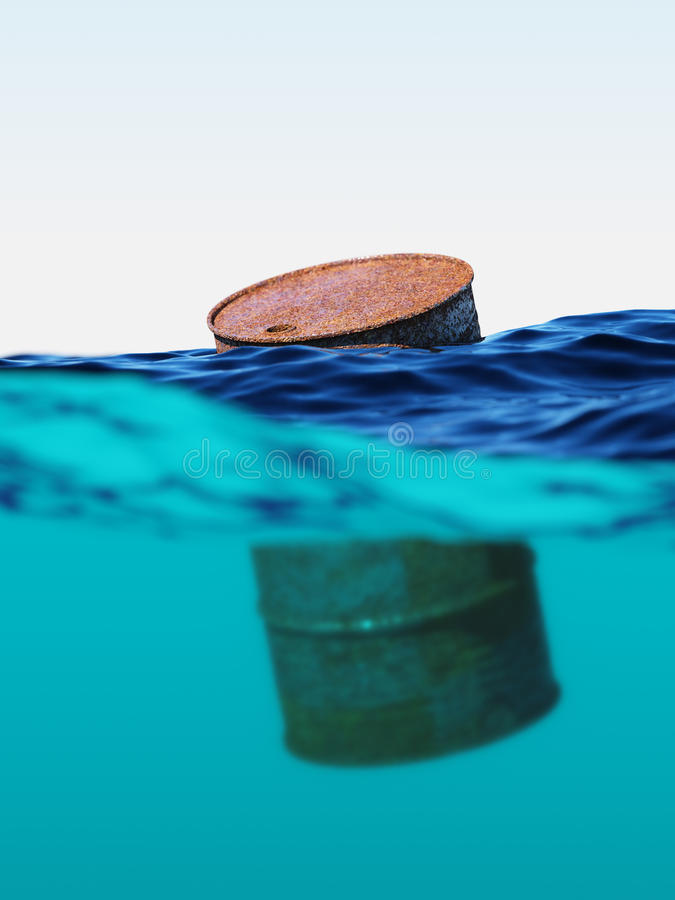 Old rusty barrel floating on the waves stock image
