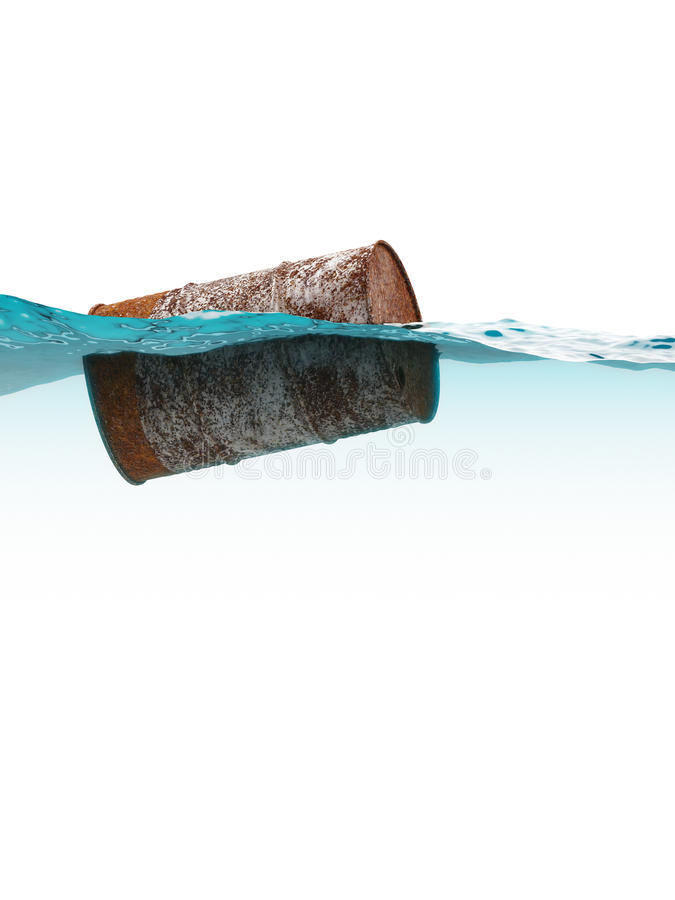 Old rusty barrel floating on the waves royalty free stock images