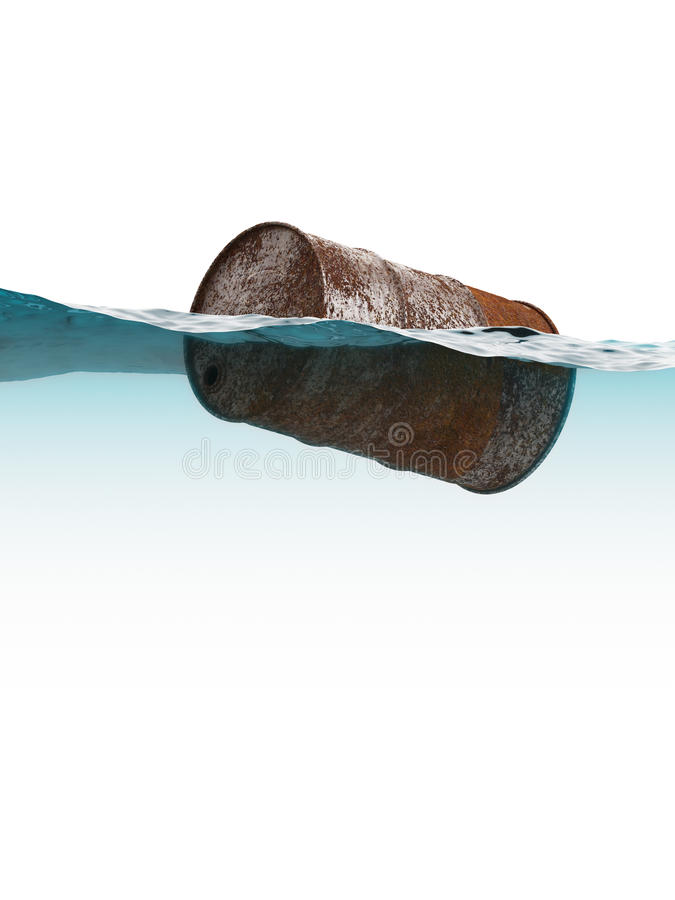 Old rusty barrel floating on the waves royalty free stock photo