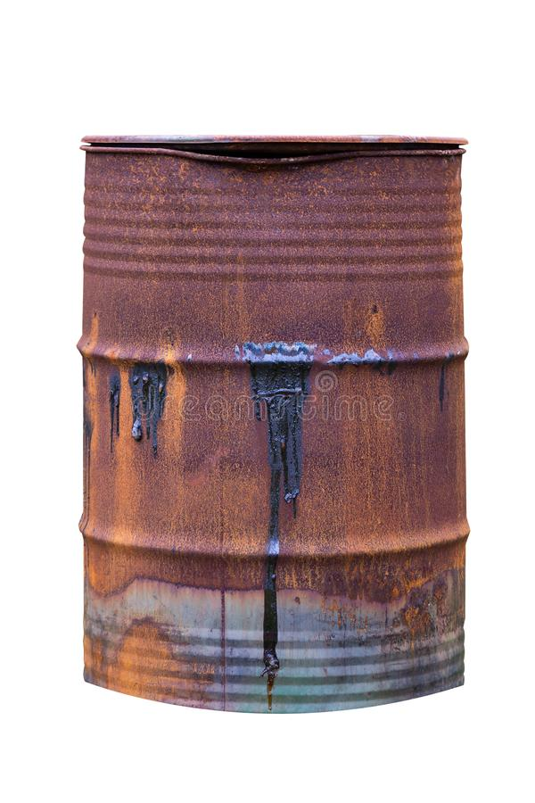 Old rusty barrel with heating oil on the surface isolated on white background stock image