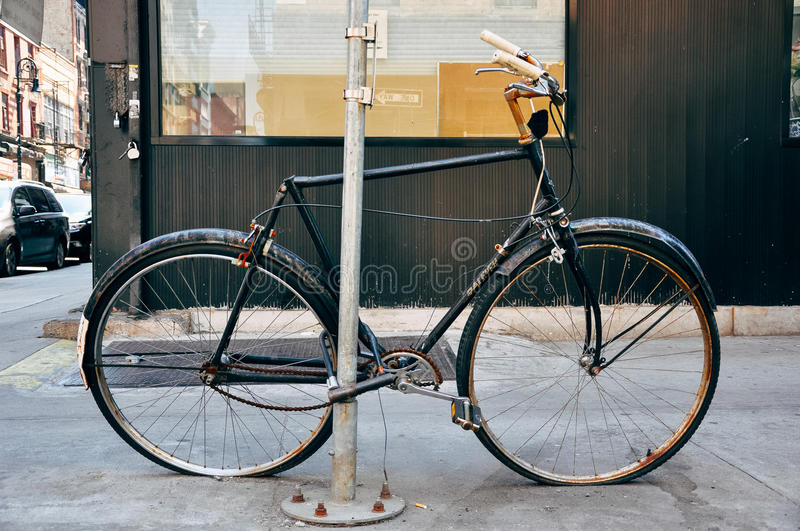 Old rusty bike in Manhattan. stock image