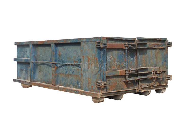 Old rusty blue garbage dumpster isolated royalty free stock photo