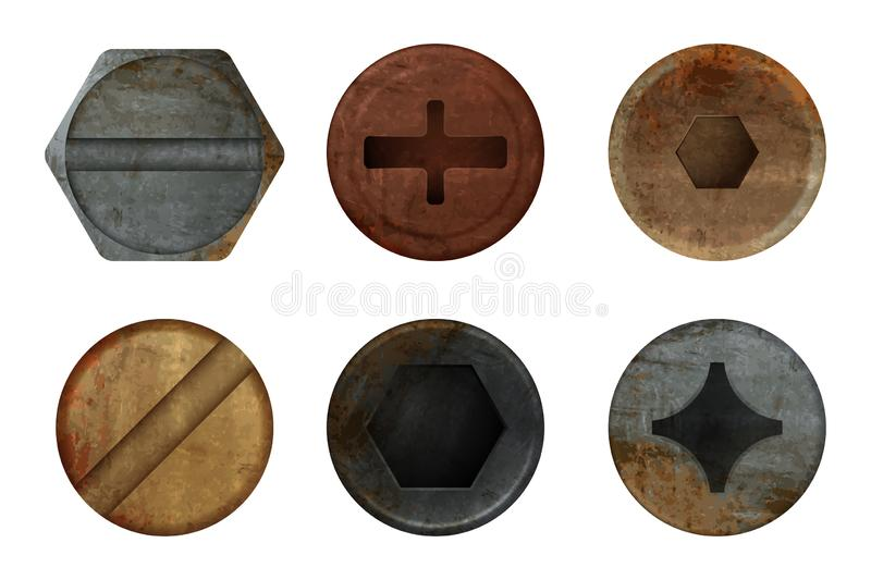 Old rusty bolts screw. Hardware rust metal texture for different iron tools. Vector realistic pictures. Bolt top, iron rusty head fix illustration royalty free illustration