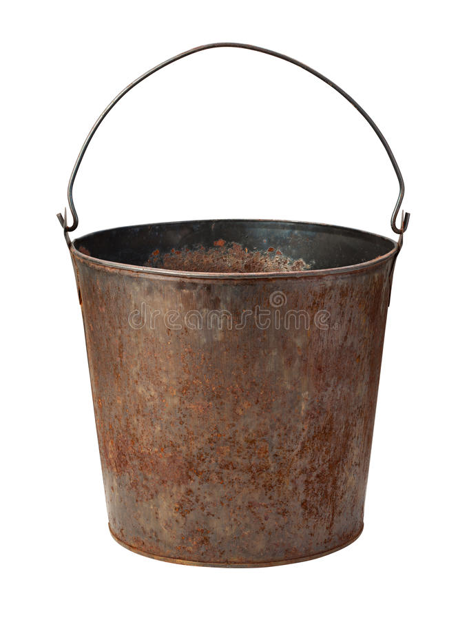 Old Rusty Bucket isolated with clipping path royalty free stock photos