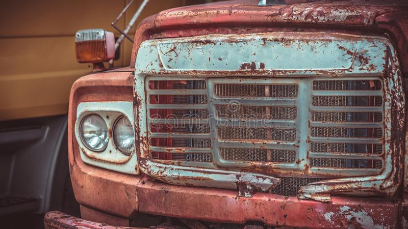 Old Rusty Car Truck Collection. Parking In Park Outdoor Garage stock photos