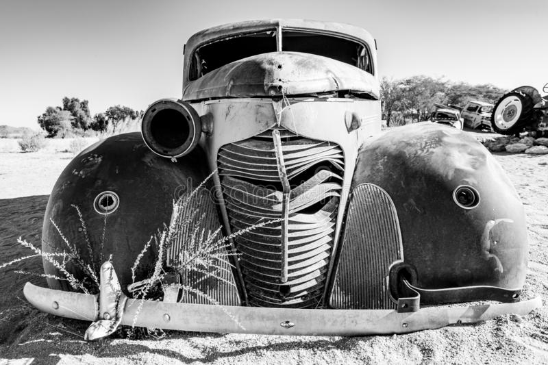 Abandoned car from Solitaire, Namibia stock images