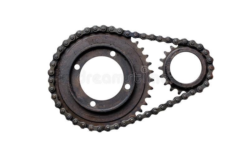 Old rusty chain gear, small and large collars joined by a chain. Isolated on a white background with clipping path. royalty free stock photography