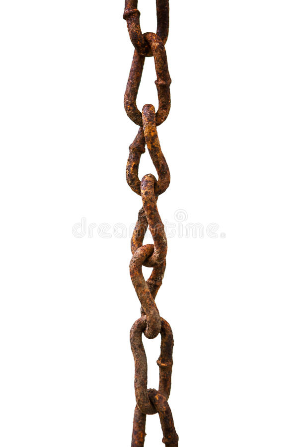 Old rusty chain. Isolated on white royalty free stock photo