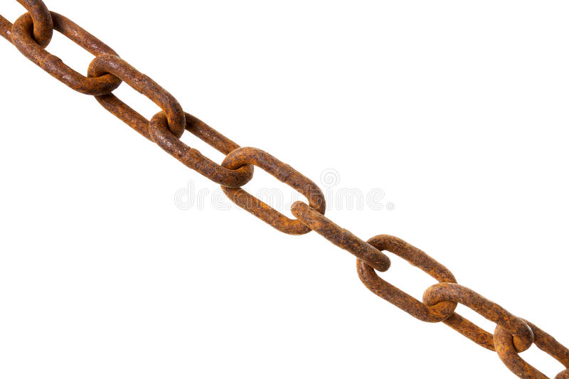Old rusty chain. Isolated on white background royalty free stock images