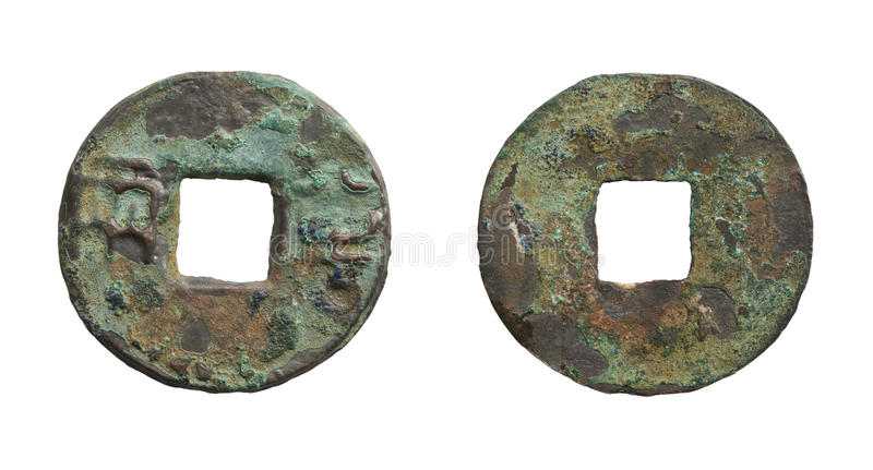 Old Rusty Chinese Coin Of Qin Dynasty Stock Photos