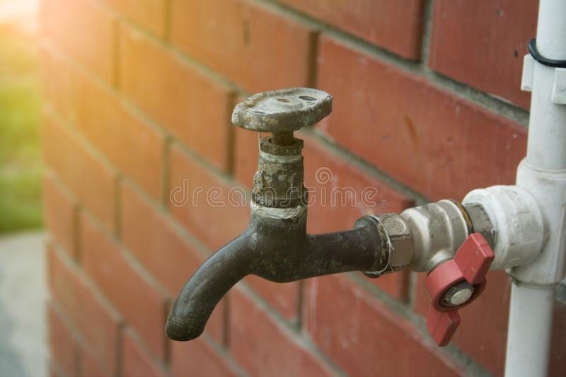 Old rusty water tap stock image