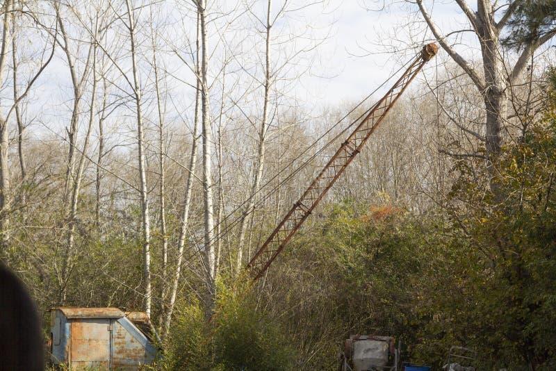 Old rusty crane in the Parana delta jungle in Tigre Buenos Aires Argentina.  stock photo
