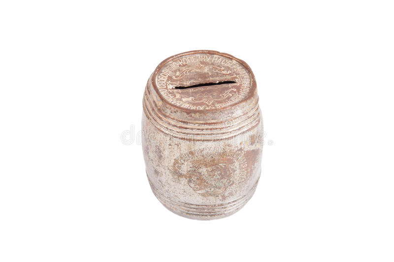 old rusty and dusty piggy bank for coins isolated on white background royalty free stock photo
