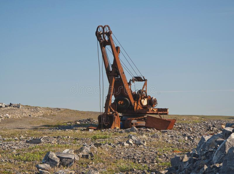 Old rusty excavator royalty free stock photos