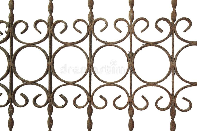 Old rusty fence made of metal grating. Isolated on white background stock photography