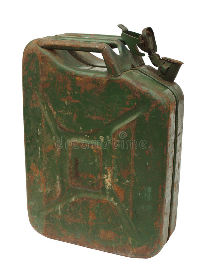 Old rusty gasoline jerry can stock image