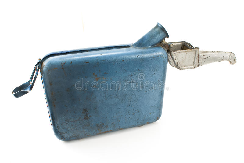 Old rusty gasoline jerry can with lid royalty free stock image