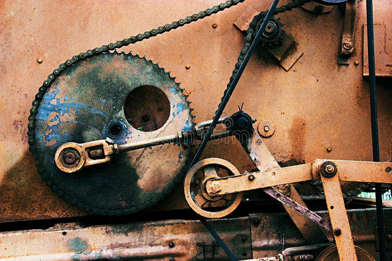 Old rusty gears. Sorting machine element. Can illustrate the steampunk culture, post-apocalypse or used as a background royalty free stock photography