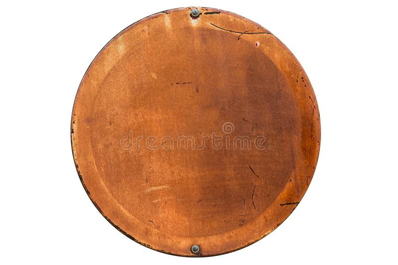 Old rusty grunge round shape empty banner isolated stock photos