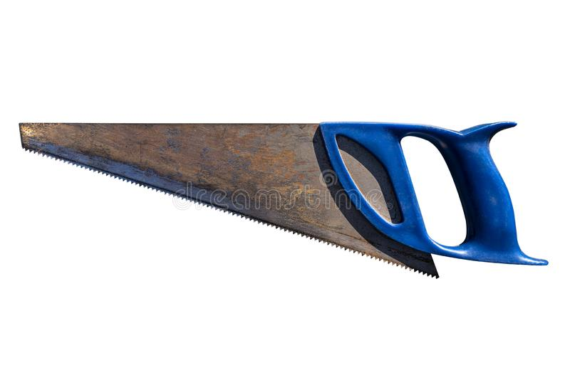 An old, rusty hand saw for wood with a blue plastic handle, isolated on white background with a clipping path. An old, rusty hand saw for wood with a blue stock photo