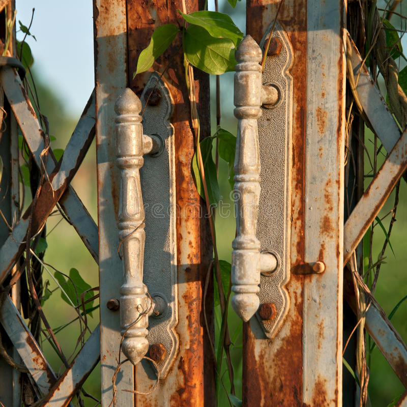 Old rusty iron gates. stock images