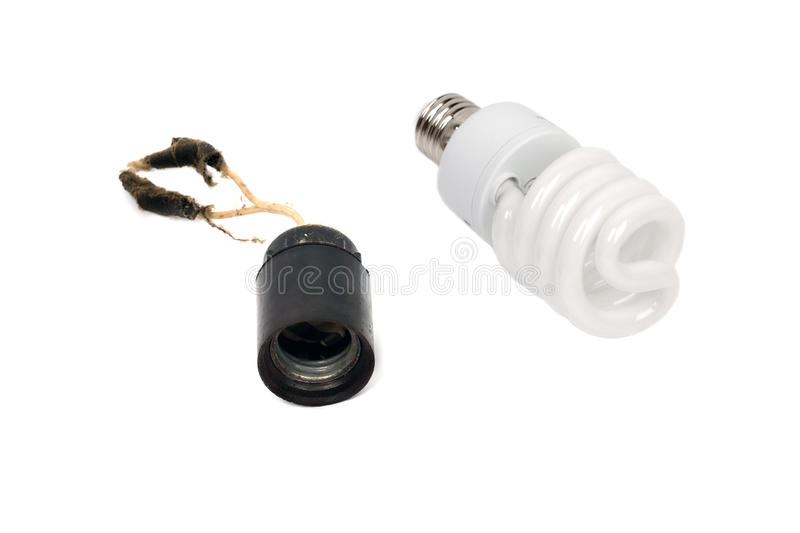 Old rusty lamp socket with wires and dust stock photo