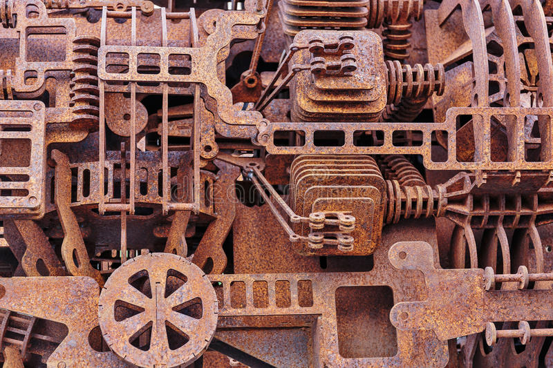 Old rusty mechanical parts stock photos